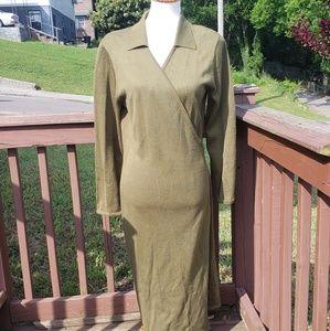 Vintage Nina Leonard Long Sleeve Wool Wrap Dress